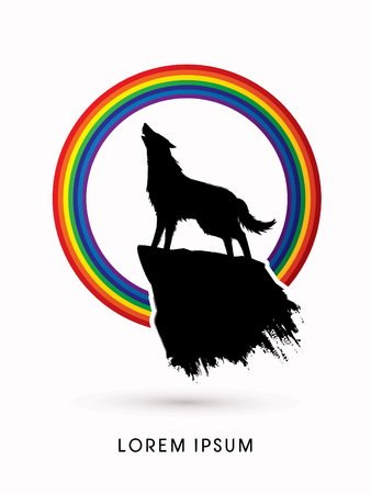 mountain silhouette: Wolf howling, designed on rainbow background graphic vector. Illustration