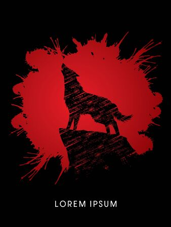Wolf howling, designed on splash blood graphic vector. Иллюстрация