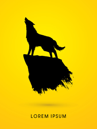 dog outline: Wolf howling, silhouette graphic vector.