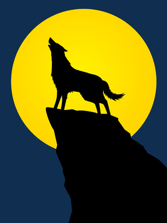 Wolf howling, designed using silhouette on moonlight background graphic vector.