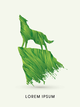leaf shape: Wolf howling, designed using green brush graphic vector. Illustration