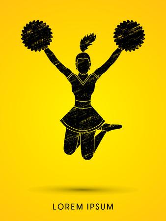 cheer: Cheerleader jumping designed using grunge brush graphic vector