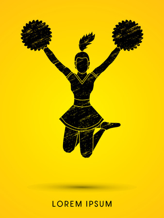 Cheerleader jumping designed using grunge brush graphic vector