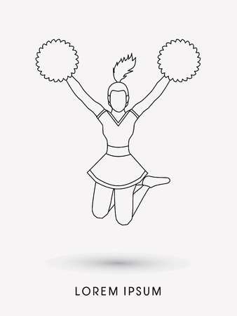 cheer leading: Cheerleader jumping outline graphic vector Illustration