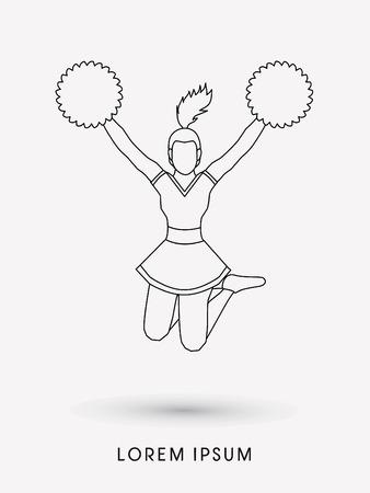 cheer: Cheerleader jumping outline graphic vector Illustration