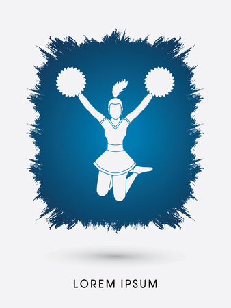 cheer leading: Cheerleader jumping designed on splash grunge brush background graphic vector