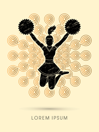 cheer leading: Cheerleader jumping designed using grunge brush on fireworks background graphic vector