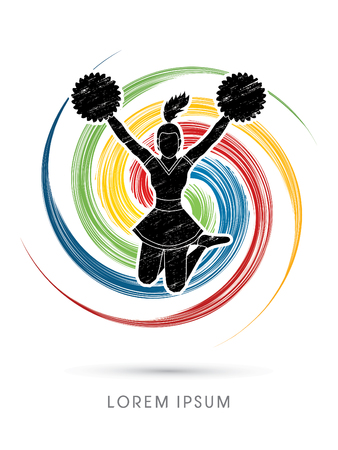 Cheerleader jumping designed using grunge brush on spin circle background graphic vector