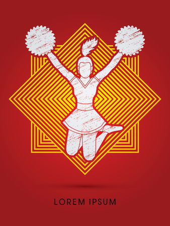 cheer leading: Cheerleader jumping designed using grunge brush on line square graphic vector