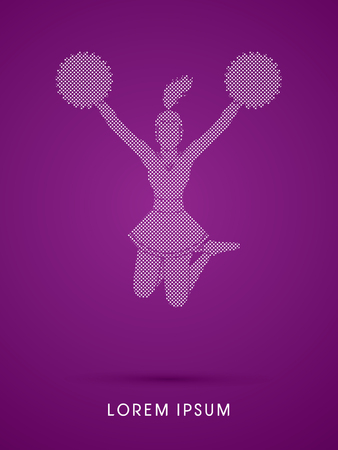 cheer leading: Cheerleader jumping designed using square and dot graphic vector Illustration