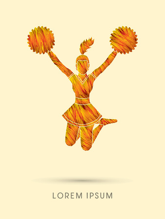 hot teenage girl: Cheerleader jumping designed using line fire brush graphic vector