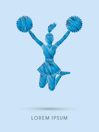 porrista: Animadora salto dise�ado usando cepillo l�nea gr�fico vectorial
