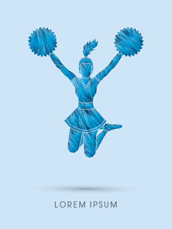 cheer up: Cheerleader jumping designed using line brush graphic vector