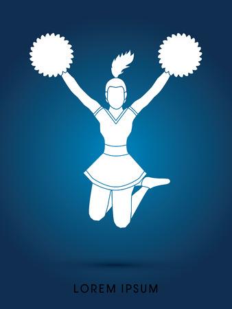 cheer leading: Cheerleader jumping graphic vector
