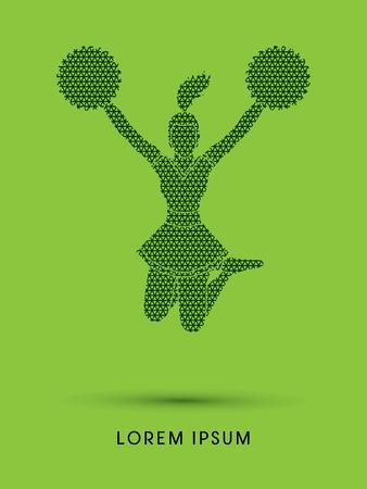 cheer leading: Cheerleader jumping designed using line geometric pattern graphic vector Illustration