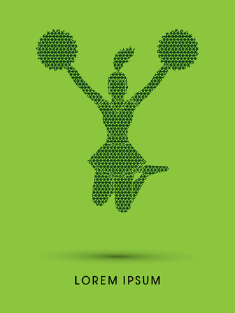 Cheerleader jumping designed using line geometric pattern graphic vector Illustration