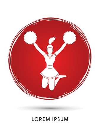 Cheerleader jumping designed on grunge circle background graphic vector Illustration