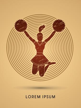 porrista: Animadora saltando dise�ado usando cepillo del grunge en el c�rculo brillo de fondo gr�fico vectorial Vectores