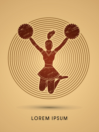 cheer leading: Cheerleader jumping designed using grunge brush on shine circle background graphic vector