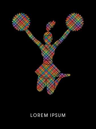 porrista: Animadora saltando diseñado utilizando la línea píxeles de colores de gráficos vectoriales