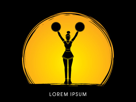 Cheerleader Standing designed on moonlight background graphic vector