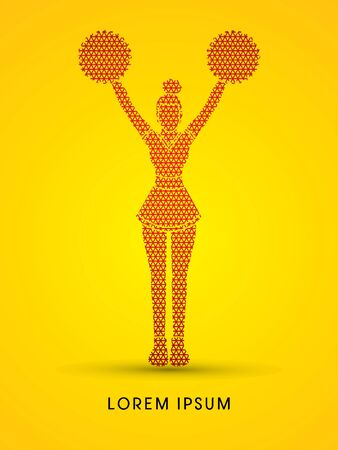 cheer leading: Cheerleader Standing designed using line geometric pattern graphic vector