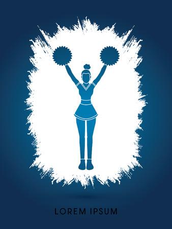 cheer leading: Cheerleader Standing designed using grunge splash brush graphic vector