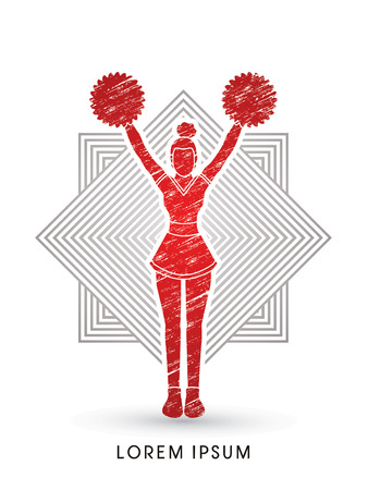 cheer leading: Cheerleader Standing designed using grunge brush on square background graphic vector.