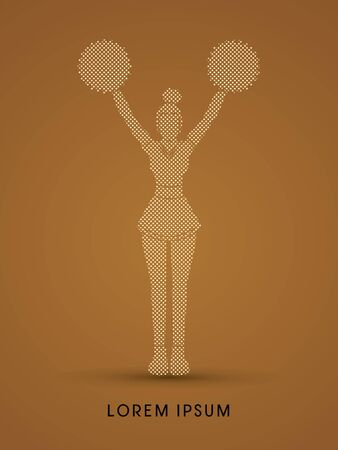 Cheerleader Standing designed using dot and square graphic vector