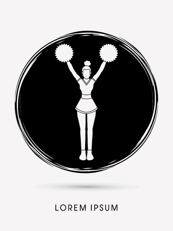 cheer leading: Cheerleader Standing designed on circle graphic vector