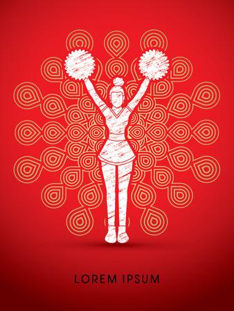 cheer leading: Cheerleader Standing designed using grunge brush on fireworks background graphic vector