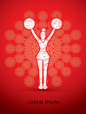 Cheerleader Standing designed using grunge brush on fireworks background graphic vector