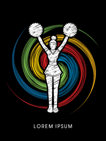 cheer leading: Cheerleader Standing designed using grunge brush on spin circle background graphic vector Illustration