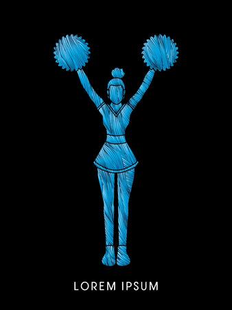 cheer leading: Cheerleader Standing designed using line cool brush graphic vector Illustration