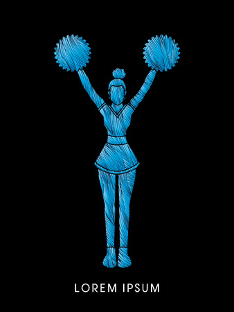 Cheerleader Standing designed using line cool brush graphic vector Illustration