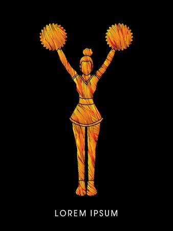 Cheerleader Standing designed using fire brush graphic vector