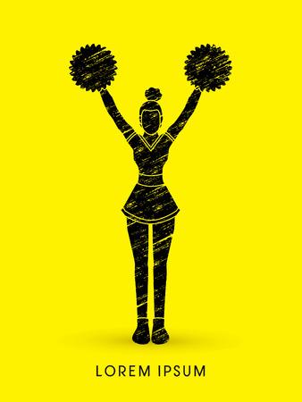 cheer leading: Cheerleader Standing designed using grunge brush graphic vector