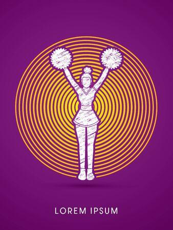 cheer leading: Cheerleader Standing designed using grunge brush on circle line graphic vector Illustration