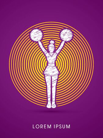 Cheerleader Standing designed using grunge brush on circle line graphic vector Illustration