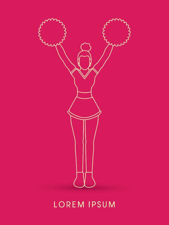 cheer leading: Cheerleader Standing outline graphic vector Illustration