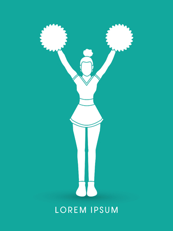 cheer leading: Cheerleader Standing silhouette graphic vector