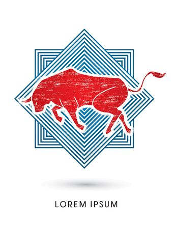 bull fight: Bull ready to fight  designed using grunge brush on line square background graphic vector.