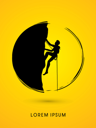 fearless: Silhouette Man climbing on a cliff, designed  on moonlight background graphic vector. Illustration
