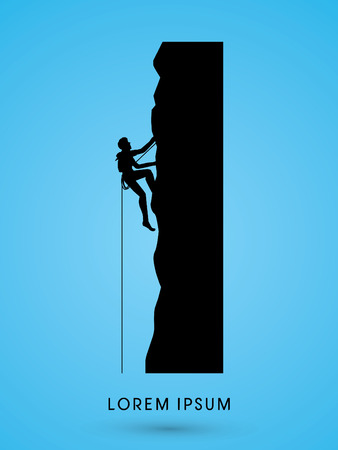 cliff: Silhouette Man climbing on a cliff graphic vector.