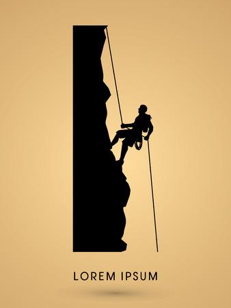 escalada: Silueta del hombre que sube en un gr�fico vectorial acantilado.