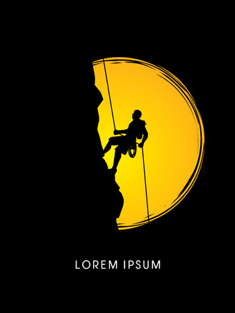 Silhouette Man climbing on a cliff, designed  on moonlight background graphic vector. Vettoriali