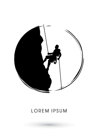 rock climber: Silhouette Man climbing on a cliff, designed using grunge brush graphic vector.