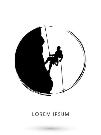Silueta del hombre que sube en un acantilado, diseñado usando cepillo del grunge de gráficos vectoriales.