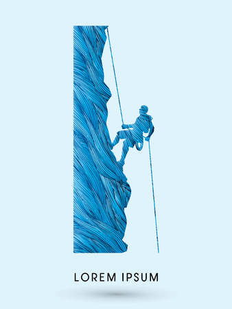 cool man: Silhouette Man climbing on a cliff, designed using cool brush graphic vector.