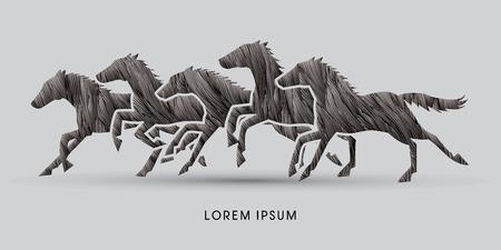 5 horses running, designed using black grunge brush graphic vector.
